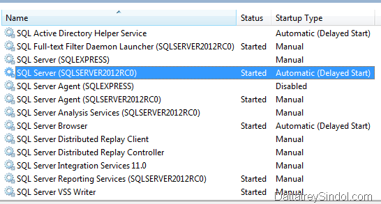 Startup types of Windows Services for SQL Server