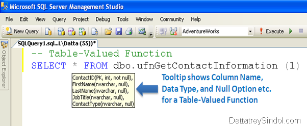 Tooltip shows Column Name, Data Type, and Null Option etc. for a Table-Valued Function