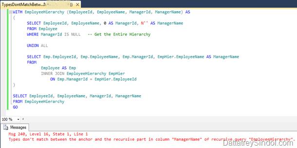 CTE Data Type Mismatch Error