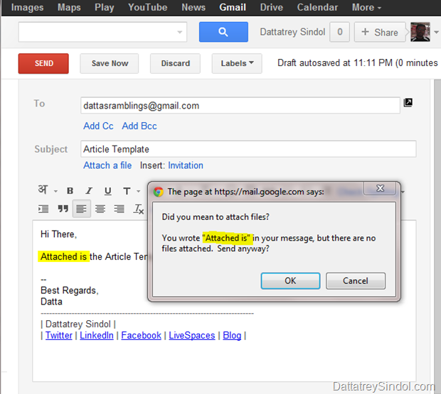 Missing Attachment Warning in Gmail