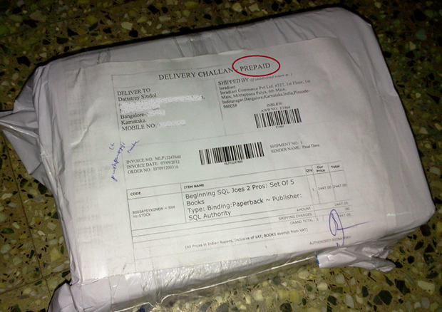 A Prepaid Order, Delivered from Indiaplaza
