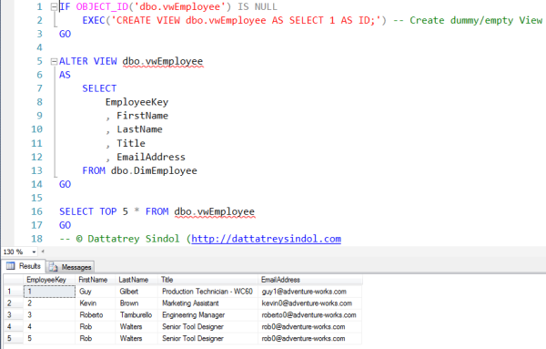 T-SQL – CREATE or ALTER User Defined Views